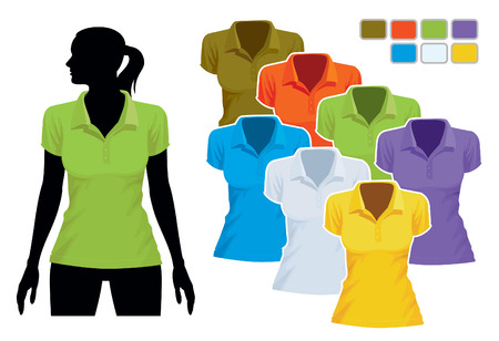 wear: Woman body silhouette with colorful collection of polo shirts