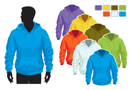 sweatshirts: Man body silhouette with colorful collection of sweatshirts Illustration