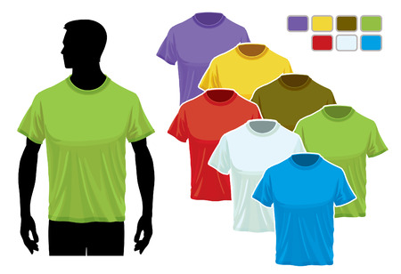 Man body silhouette with colorful collection of t-shirts Stock Vector - 7788101