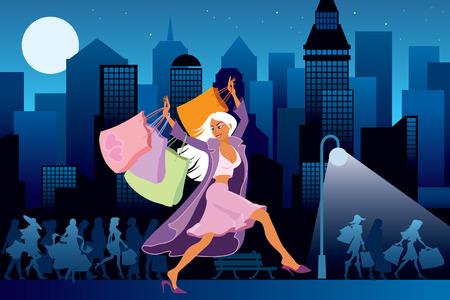 Girls with shopping bags, city at night in the background Vector