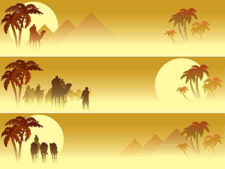 palm desert: Set di tre banner web: camel caravan attraversando il deserto