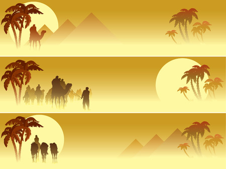 yellow adventure: Set of three web banners: Camel caravan going through the desert Illustration