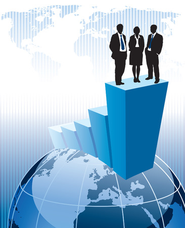 Successful business team is standing on a large graph. Vector