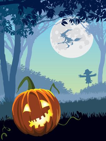 scarecrow: Halloween scary garden, illustration for Halloween holiday Illustration