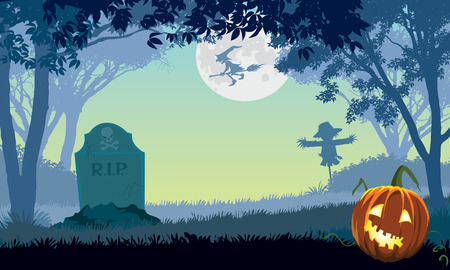 Halloween scary park, illustration for Halloween holiday Vector
