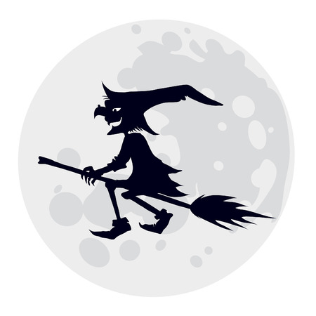 flying hat: Silhouette of flying witch, illustration for Halloween holiday Illustration