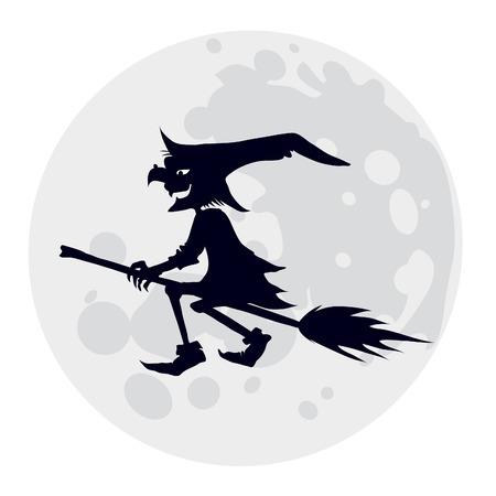 bruja: Silueta de vuelo bruja, ilustraci�n para la fiesta de Halloween