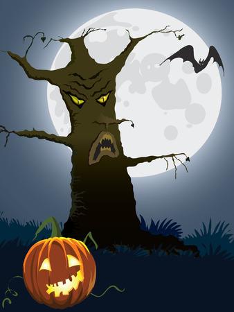 Halloween scary tree, illustration for Halloween holiday Stock Vector - 7788122