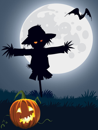 Halloween scary scarecrow, illustration for Halloween holiday
