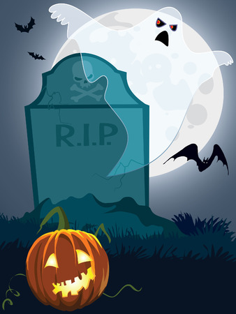 Halloween scary grave, illustration for Halloween holiday Stock Vector - 7788120