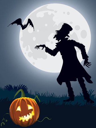 Halloween scary person, illustration for Halloween holiday Vector