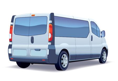 Nutzfahrzeug - Silber-Passagier-Minibus auf einem weißen Hintergrund.