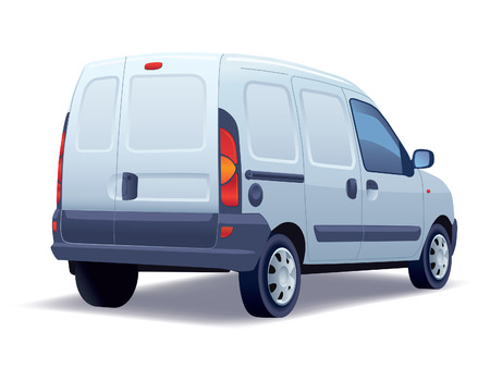 delivery box: White commercial vehicle - delivery van on white background.