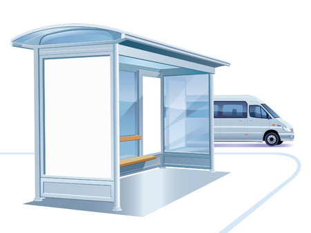 outdoor advertising: A blank white advertising billboard on a bus stop Illustration