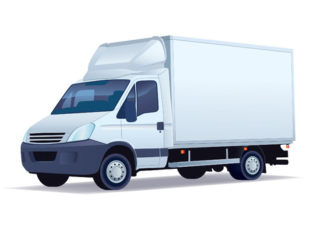 delivery car: Commercial vehicle - delivery truck on a white background