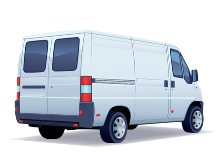 delivery van: Commercial vehicle - delivery van on white background. Illustration