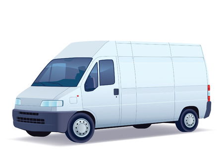 Commercial vehicle - delivery van on white background. Vector