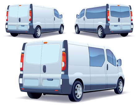 mini bus: Commercial vehicle - delivery van on white background. Illustration