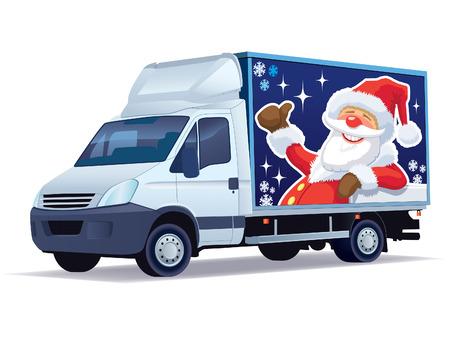 delivering: Veh�culos comerciales de Navidad - anuncian el cami�n de reparto con Santa Claus.