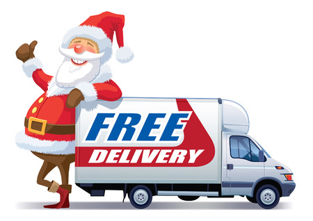 Santa Claus is advertising christmas free delivery. Stock Vector - 8042157