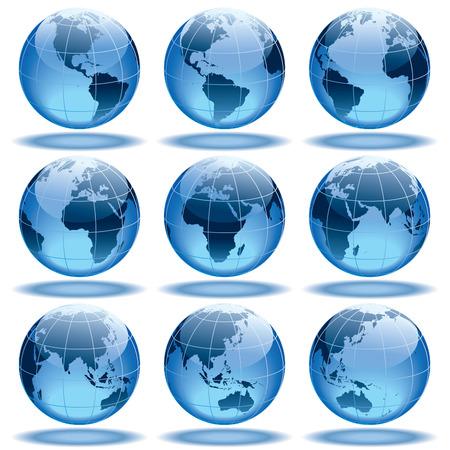 Satz von neun Globen zeigt Erde mit allen Kontinenten.