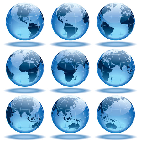 Set of nine globes showing earth with all continents.  Vector