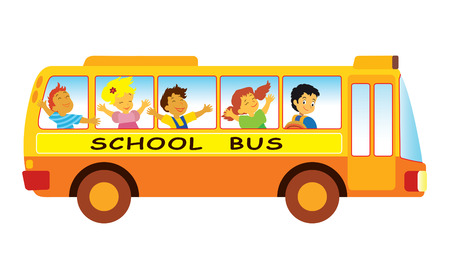 school buses: Group of elementary school pupils in a school bus Illustration