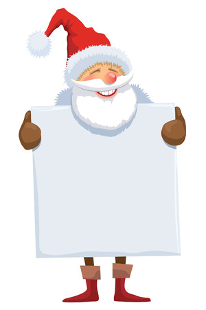 blank poster: Santa Claus with blank poster on a white background.