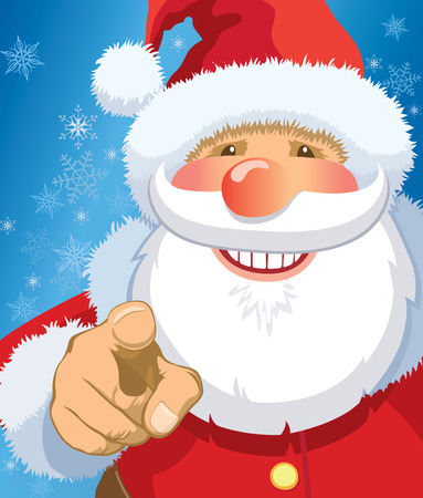red point: Smiling Santa Claus pointing at you, snowflakes in the background. Illustration
