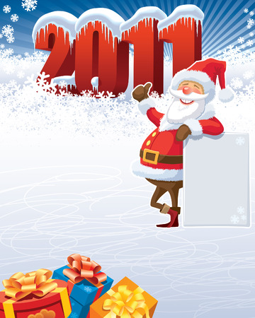Santa Claus with blank poster and the new year 2011. Stock Vector - 8189263