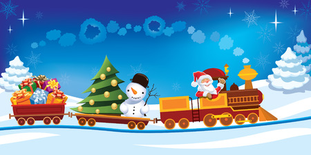 Santa Claus in a toy train with gifts, snowman and christmas tree. Illustration