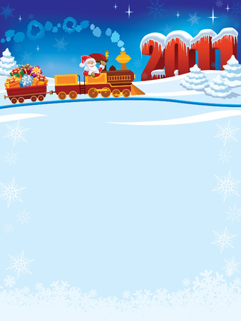 Santa Claus in a toy train with gifts, New Year in the background. Vector