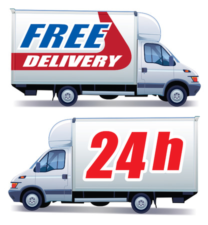 shipping containers: White commercial vehicle - delivery truck with a sign free delivery