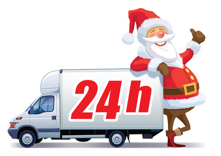 Santa Claus is advertising with christmas delivery truck Vector