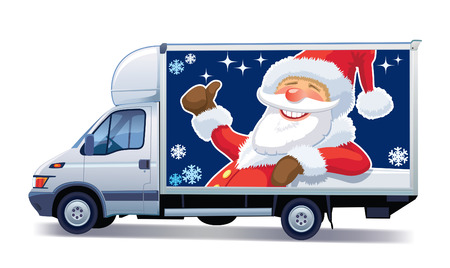 Christmas commercial vehicle - delivery truck with Santa Claus advertise. Vector