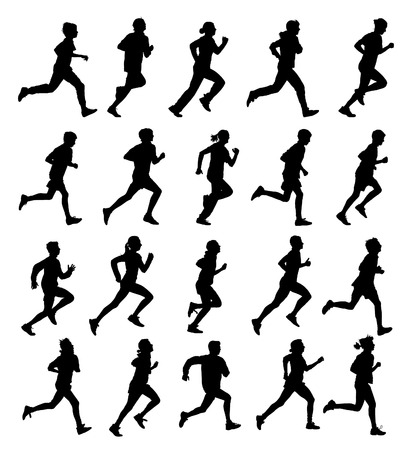 Collection of running silhouettes, teenagers, boys and girls. Vector