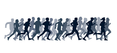 marathon runner: Crowd of young people running Illustration