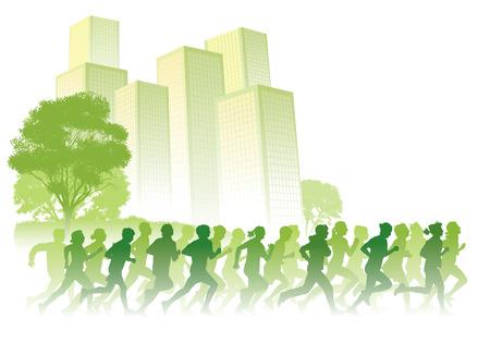 gente corriendo: Multitud de gente joven que se ejecutan en una calle. Ilustraci�n de vector de deporte.