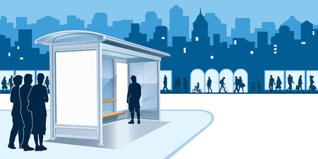man outdoors: Bus stop with blank advertising billboard and people on a street