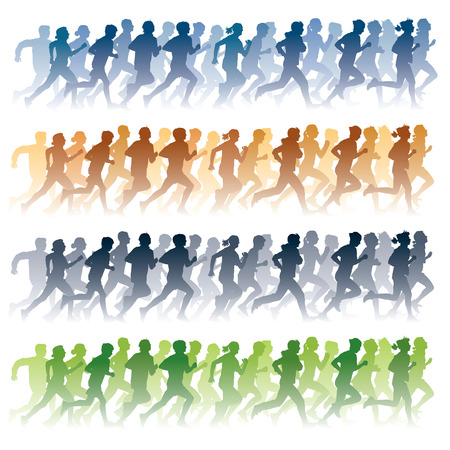 woman run: Crowd of young people running Illustration