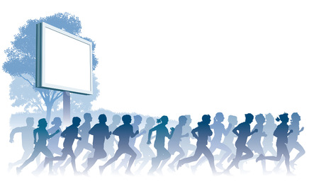 running woman: Crowd of young people running. Sport illustration.