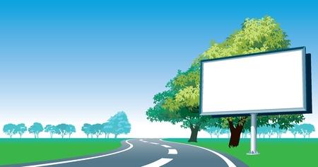 billboard posting: Blank billboard and roadside trees at the road. Stock Photo