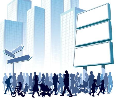 Menge von Menschen zu Fuß auf einer Straße. Illustration
