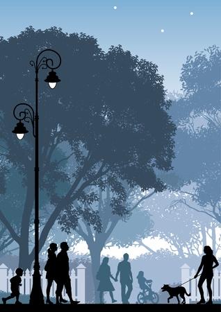 Menschen, die zu Fuß in einer Straße und in einem Park.  Illustration