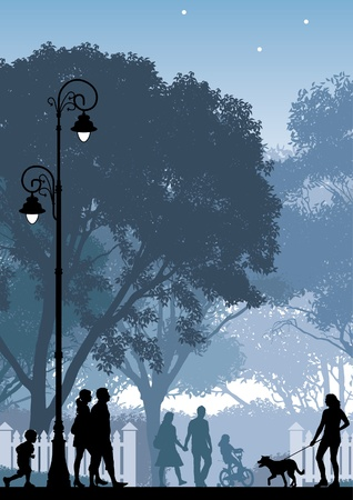 modern illustrations: People walking on a street and in a park.