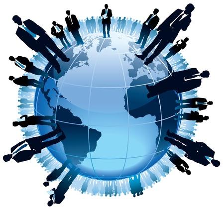 Geschäftsleute stehen auf einem großen Globus,