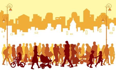 Menge von Menschen zu Fuß in einer Straße.  Illustration