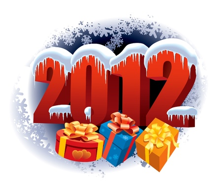 New Year 2012 and Christmas gifts on winter white background Vector