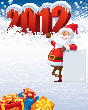 Santa Claus with blank poster and the new year 2012. Stock Vector - 11124656