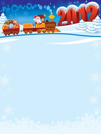 Santa Claus in einer Spielzeugeisenbahn mit Geschenken, Neujahr in den Hintergrund.